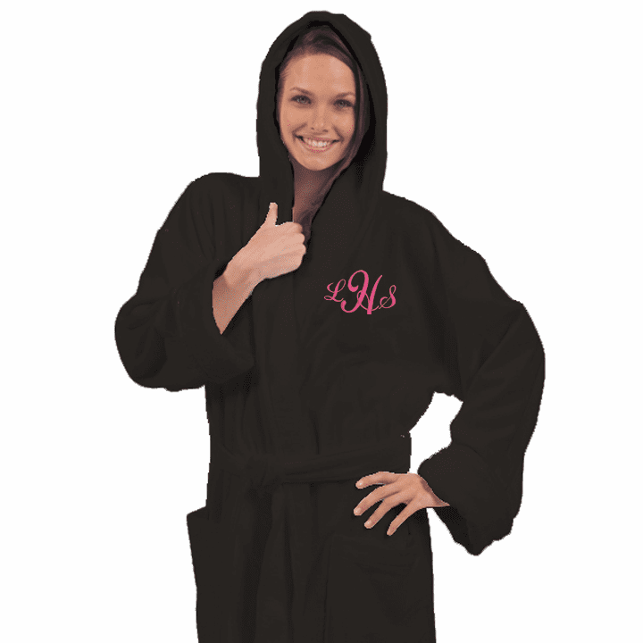 """Personalized Black Terry Velour Hooded Robe 54"""""""