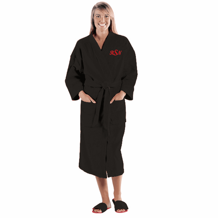 Personalized Black Terry Velour Kimono Robe  48""