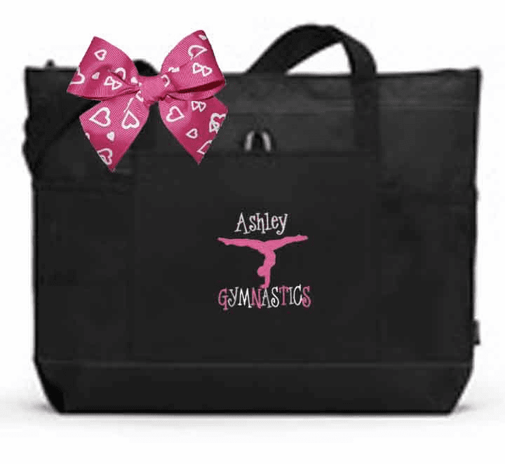 Personalized Color Block Tote Bag w/Bow Gymnastics