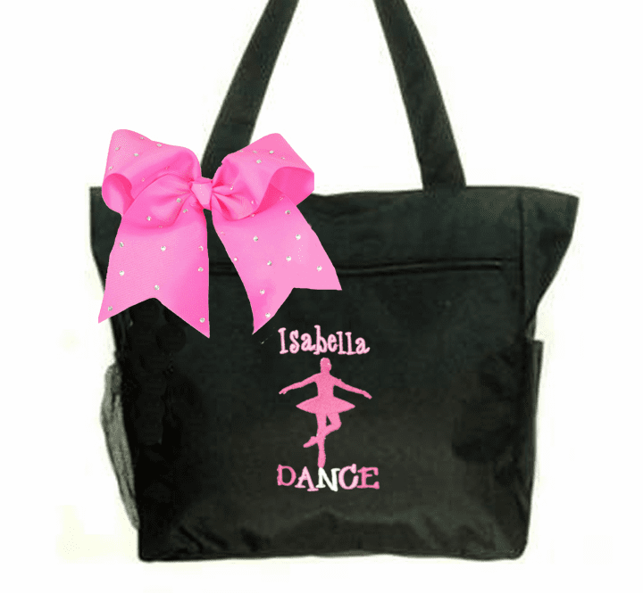Personalized Black Tote Dance Ballet Embroidered Design