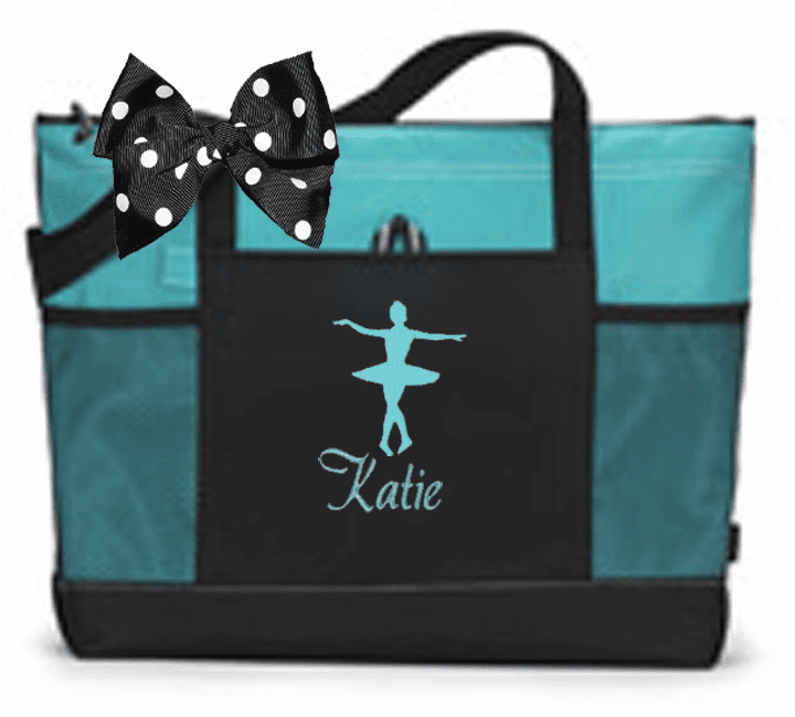 Personalized Black & Turquoise Tote Bag w/Bow Dance Gymnastics Tap Jazz Cheer