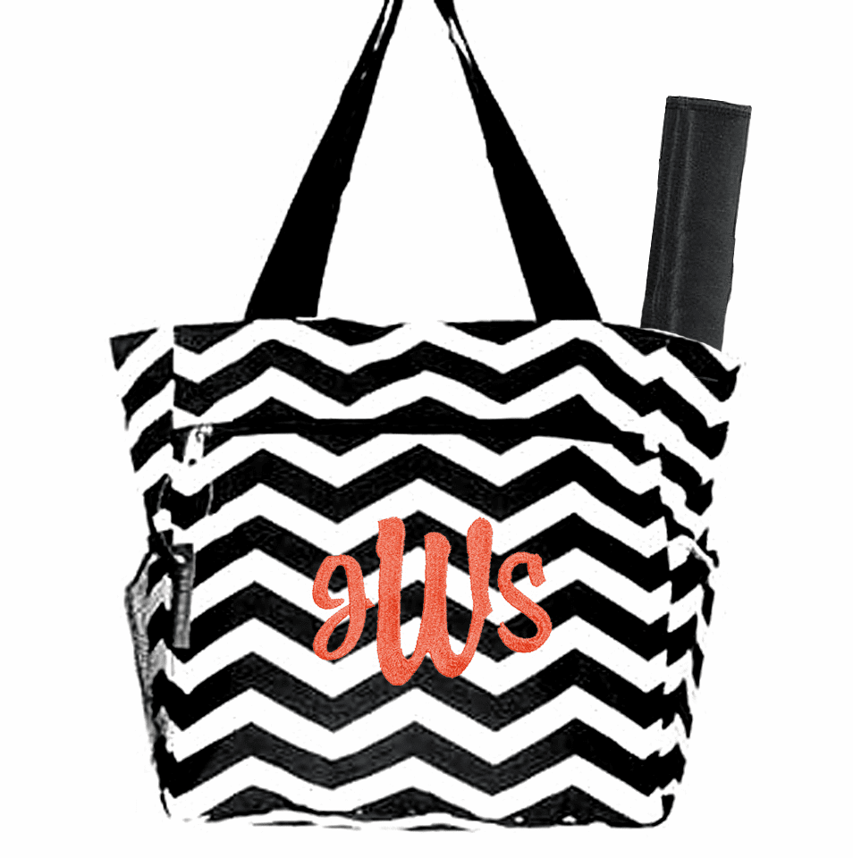 Personalized Black & White Chevron Pattern Diaper Bag w/Changing Pad
