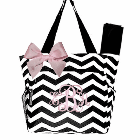 Personalized Black & White Chevron Pattern with Pink Accents Diaper Bag