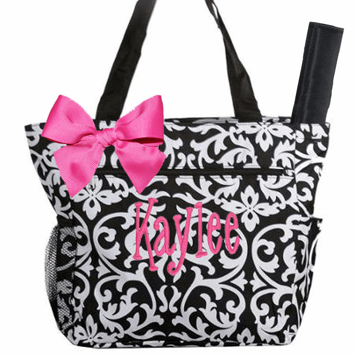 Personalized Black & White Damask Pattern Diaper Bag w/Changing Pad