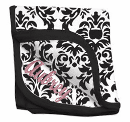 Personalized Damask Print Receiving Blanket Black or Pink 100% Cotton
