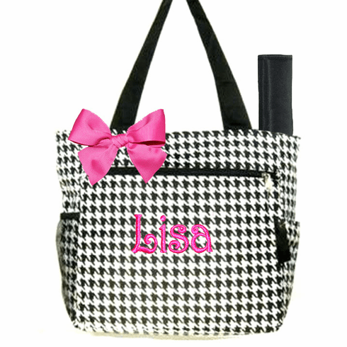 Personalized Black & White Houndstooth Pattern Diaper Bag w/Changing pad