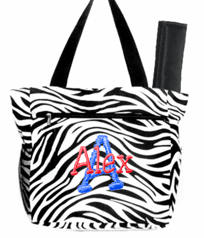 Personalized Black & White Zebra Pattern Diaper Bag w/Changing Pad