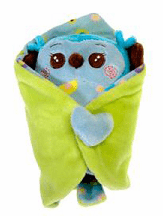 Personalized Blanket Babies Owl Blue with Leaf Blankey