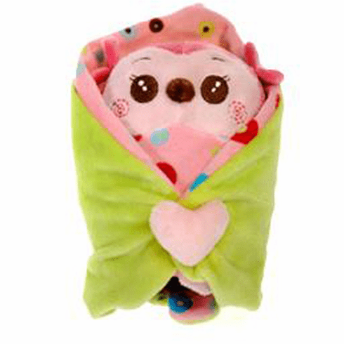 Personalized Blanket Babies Owl Pink with Leaf Blankey