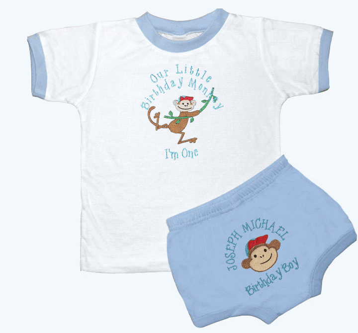 Personalized Blue Boy's 1st Birthday Outfit Monnkey Design