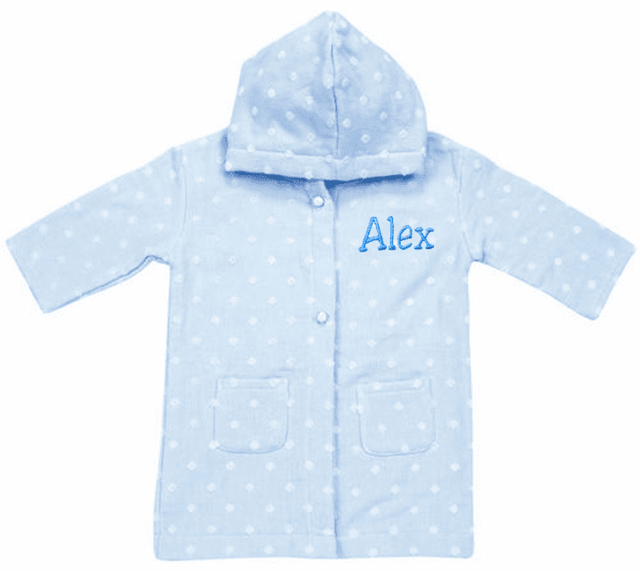 Personalized Blue Dot Muslin & Terry Baby Infant Kids Bath Robe