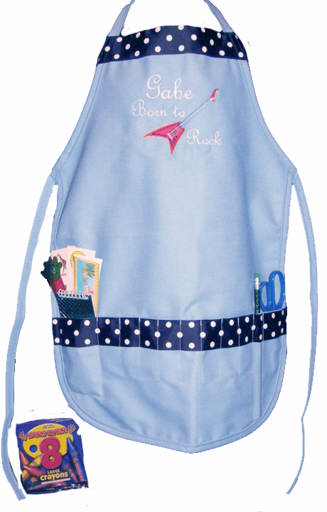 Personalized Blue Rockstar Craft Crayon Apron with Ribbon Trim