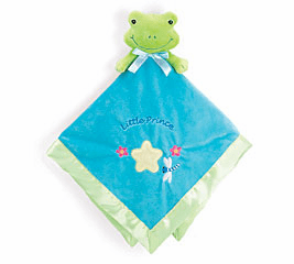 Personalized Blue Security Blanket Frog Prince Personalize with Embroidery