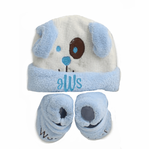 Personalized Blue & White Fleece Hat and Booties Set Puppy Design
