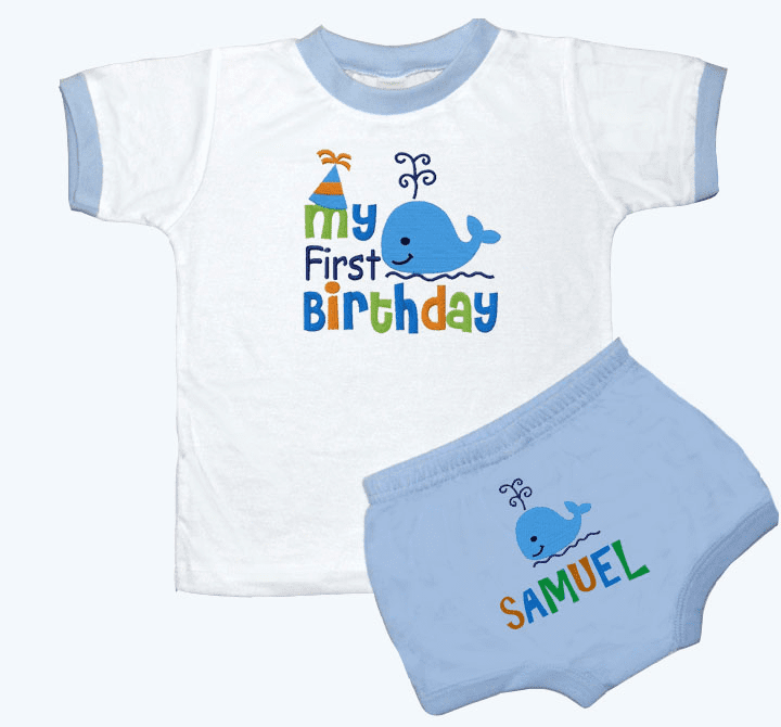 Personalized Boy's 1st Birthday Outfit A Whale of A Birthday Design