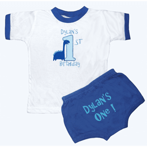 Personalized Boy's 1st Birthday Outfit Baby Dino Design