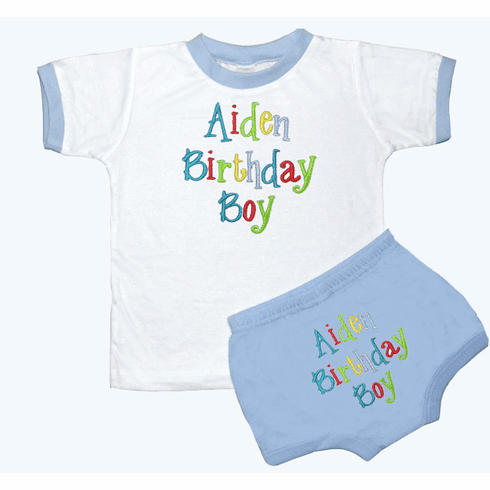 Personalized Boy's 1st Birthday Outfit Bright Colors Design