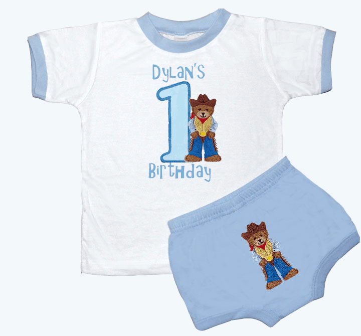 Personalized Boy's 1st Birthday Outfit Cowboy Bear Design