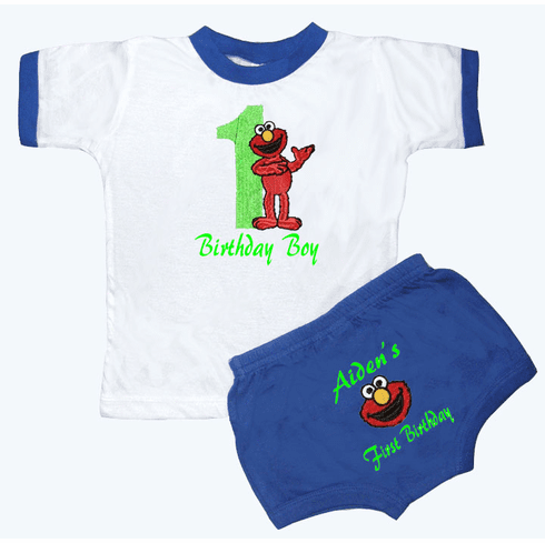 Personalized Boy's 1st Birthday Outfit Elmo Design