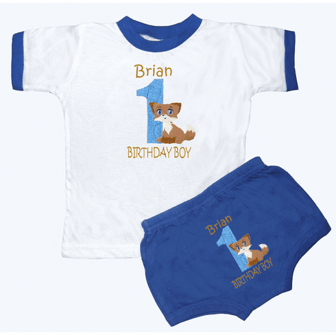 Personalized Boy's 1st Birthday Outfit Foxy Baby Design