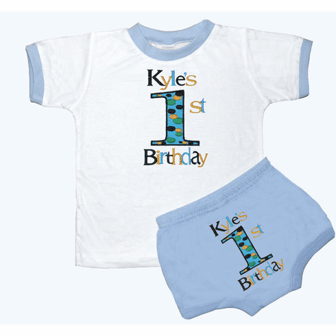 Personalized Boy's 1st Birthday Outfit Fun Dots Design