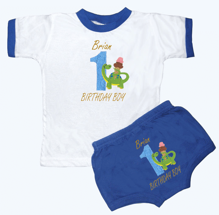 Personalized Boy's 1st Birthday Outfit I Love Ice Cream Design