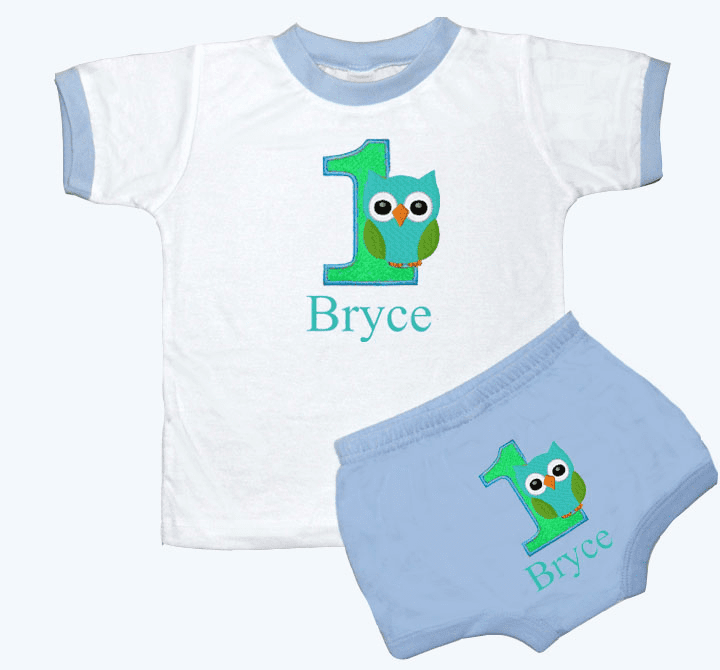 Personalized Boy's 1st Birthday Outfit Owl Design