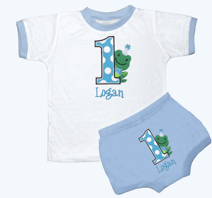 Personalized Boy's Lt Blue 1st Birthday Outfit Dotted Frog Design