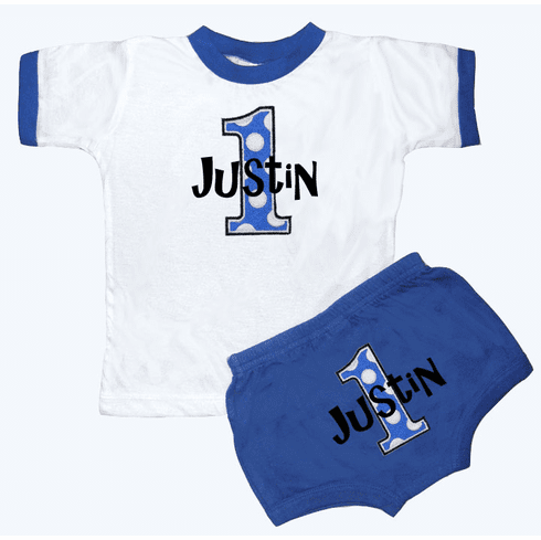 Personalized Boy's Royal & White 1st Birthday Outfit Just Dottie Design