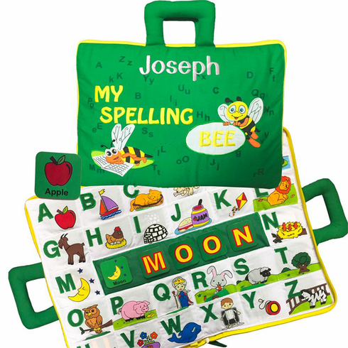 Personalized Bright Green Soft My Spelling Bee Learning Book