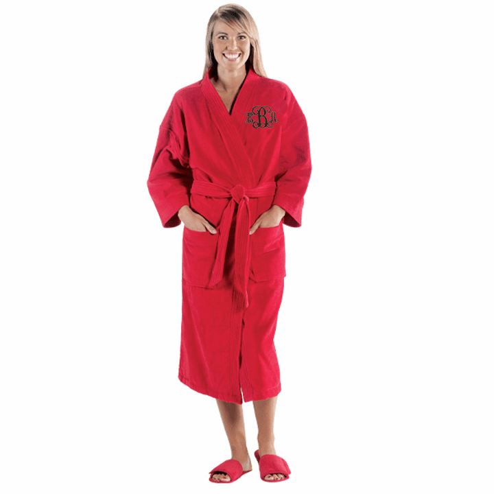 Personalized Bright Red Terry Velour Kimono Robe 48""