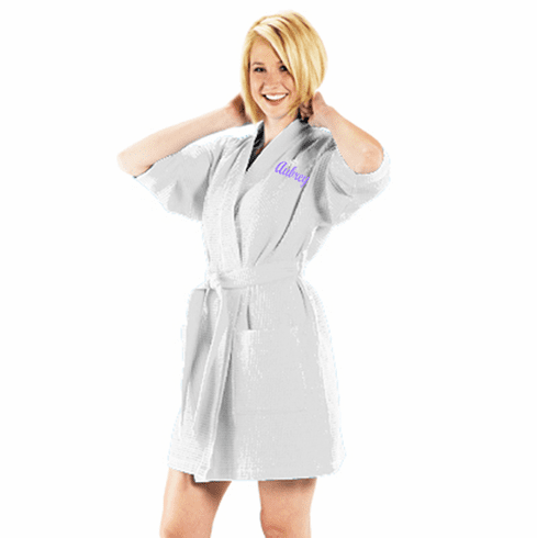 Personalized Bright White Thigh Length Waffle Weave Kimono Robe 36""