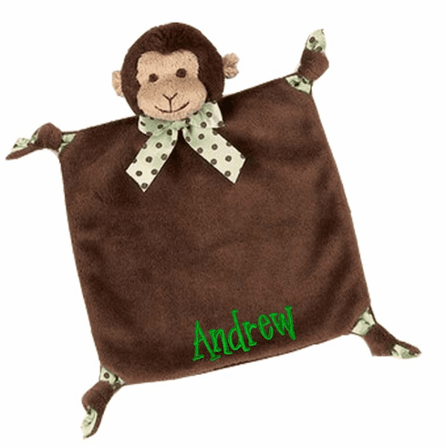 PERSONALIZED Brown Giggles Wee Lil' Monkey Security Snuggle Blanket