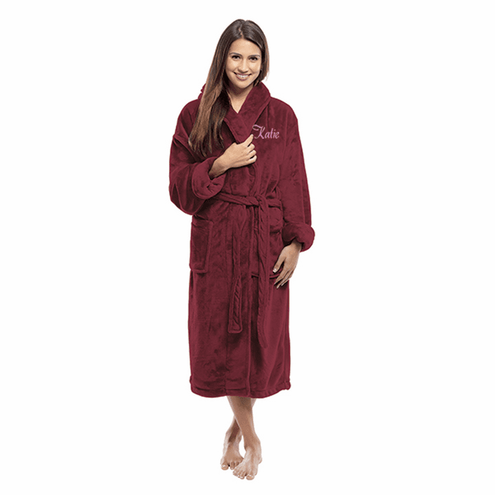 Personalized Burgundy Tahoe Micro Fleece Shawl Collar Robe 48""