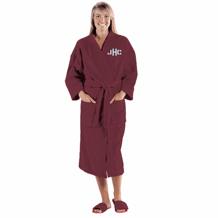 Personalized Burgundy Terry Velour Kimono Robe  48""
