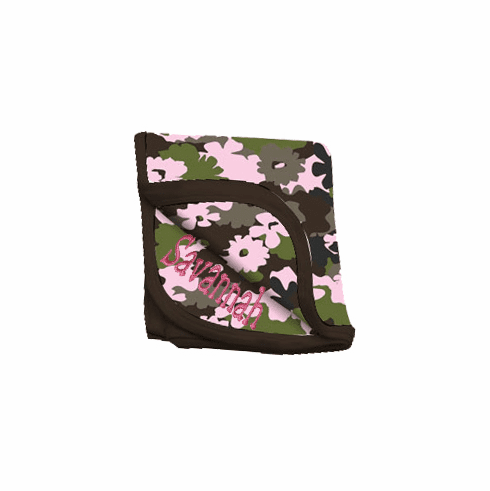 Personalized Camouflage Baby Receiving Blanket Pink Flower Camo