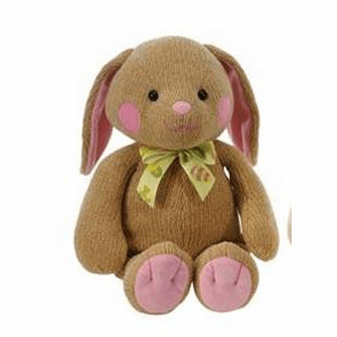 """Personalized Chenielle Brown Bunny 11"""" with Pink Accents"""