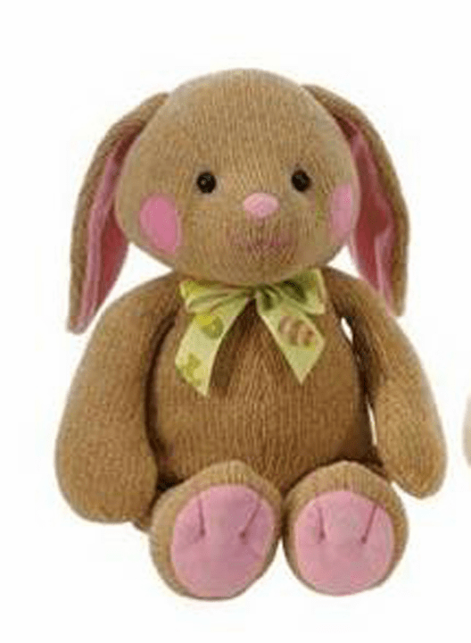 "Personalized Chenielle Brown Bunny 11"" with Pink Accents"