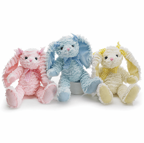 Personalized Chenille Plush Pigtail Bunnies