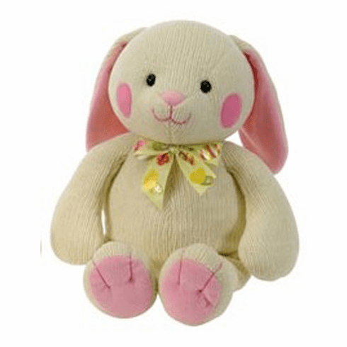 Personalized Chenille Tan Bunny with Pink Accents 11 in