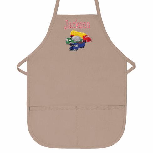 Personalized Child's Apron Khaki 2 Pocket Construction Design