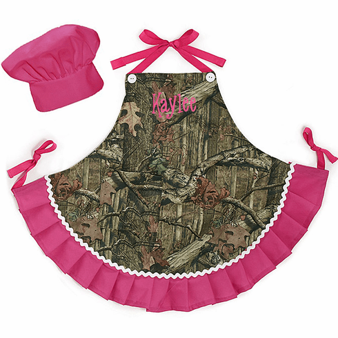 Personalized Child's Chef Apron & Hat Set Camouflage and Hot Pink