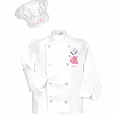 Personalized Child's Classic White Long Sleeve Chef's Coat & Hat