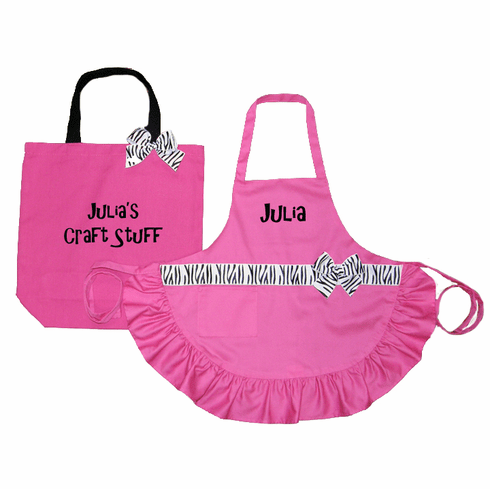 PERSONALIZED Child's Hot Pink Apron and Tote Bag Pink Zebra Trim
