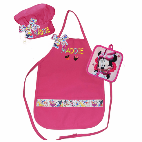 Personalized Child's Size Apron Mickey Mouse Clubhouse Hot Pink