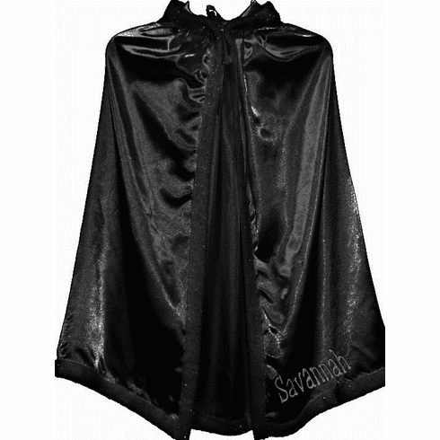 Personalized Child's Size Black Satin Fur Trimmed Cape