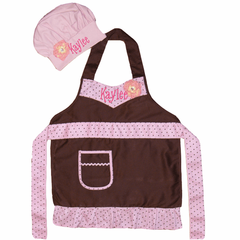 PERSONALIZED Child's Size Brown & Pink Chef's Apron and Hat Set