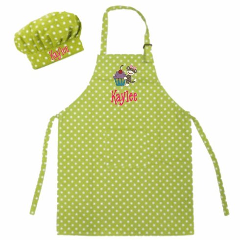 Personalized Child's Size Lime Polka Dots Apron & Chef's Hat Sock Monkey Design