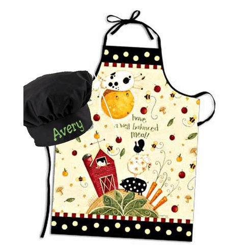 Personalized Child's Size Patterned Apron & Black Chef's Hat Farm Animals Design