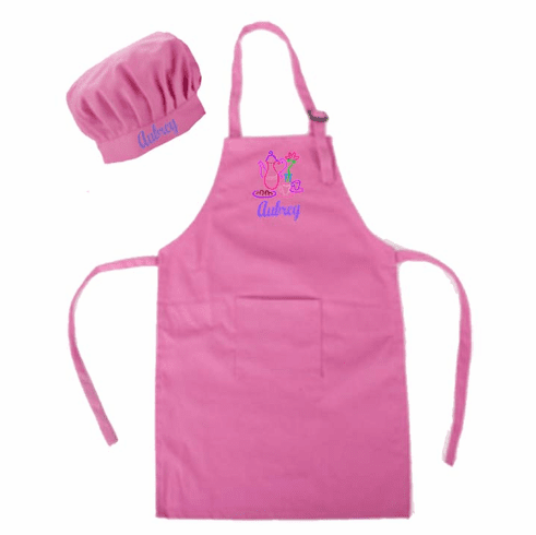 Personalized Child's Size Pink Apron & Chef's Hat Tea time Design